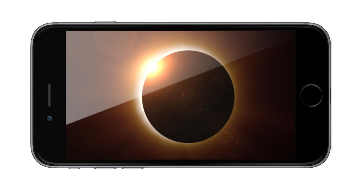 iPhone with solar eclipse