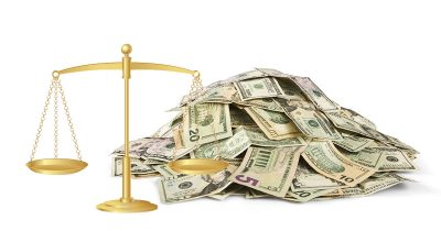 Money and justice scales in Apple patent infringement lawsuit