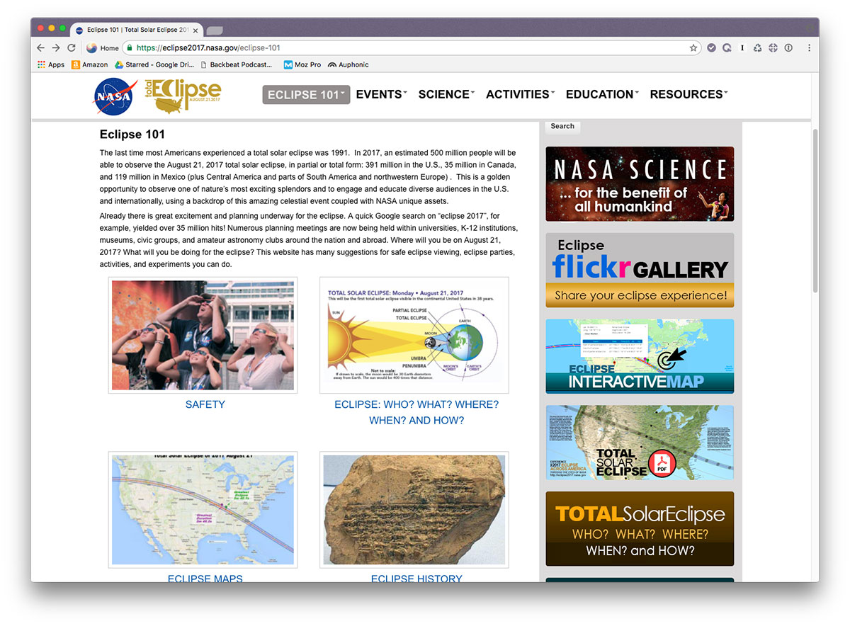 NASA solar eclipse website with tips and maps