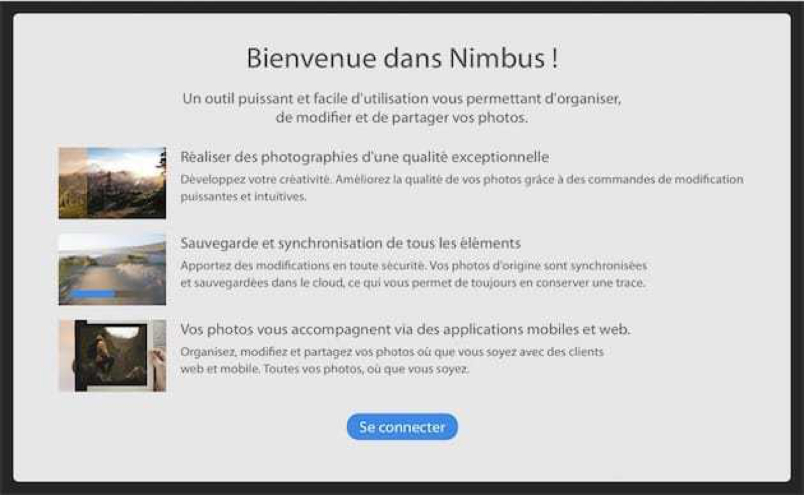 Welcome interface to the Nimbus cloud editor.
