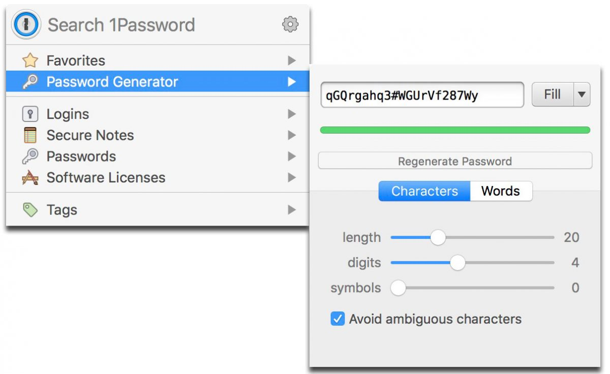 1Password generated password with an added symbol
