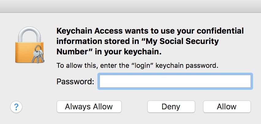 Viewing Keychain Access Secure Note contents requires your password