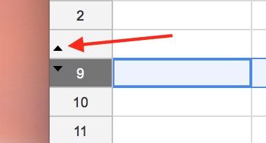 Row Arrows in Google Sheets indicate hidden rows