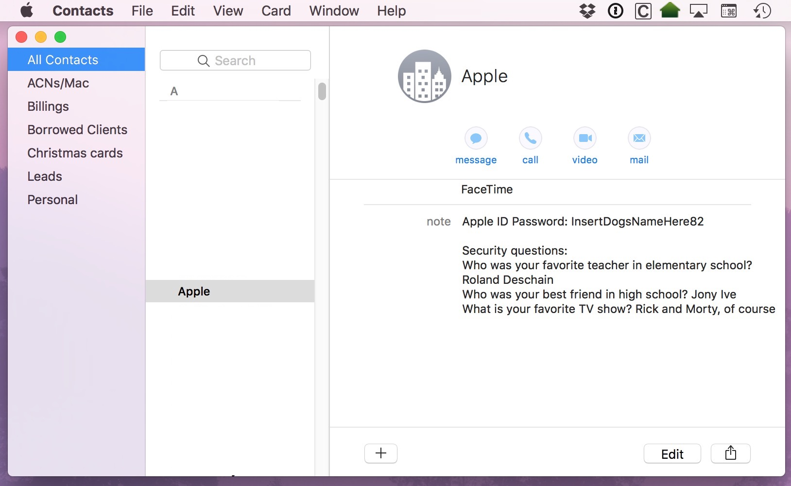 Contacts Window showing a notes in a contact entry that should be stores in a Keychain Access Secure Note