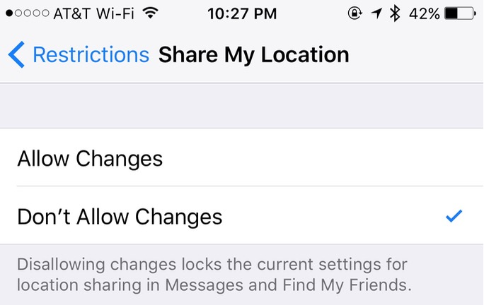 Share My Location Settings