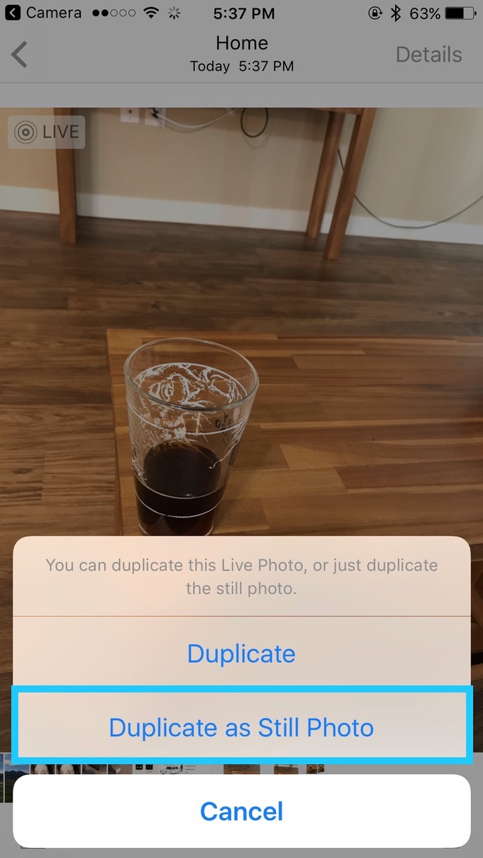 Choose Duplicate as Still Photo to make a copy of your Live Photo that's just a single image