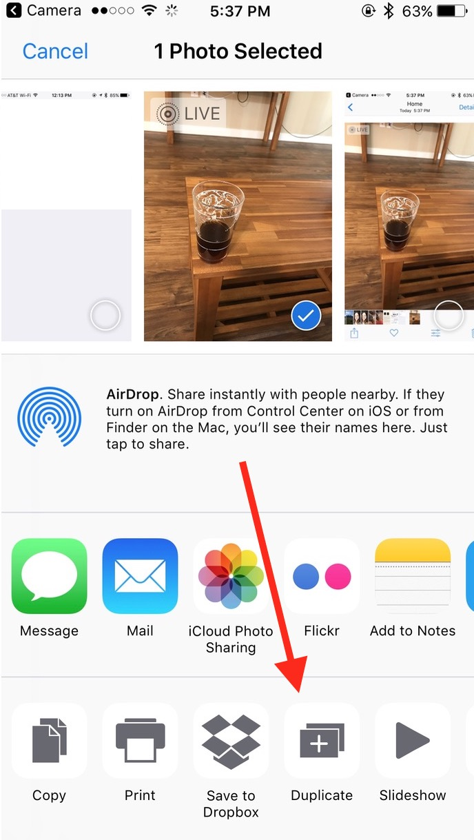 The Duplicate Button in the Sharing options in Photos lets you make a copy of your Live Photo