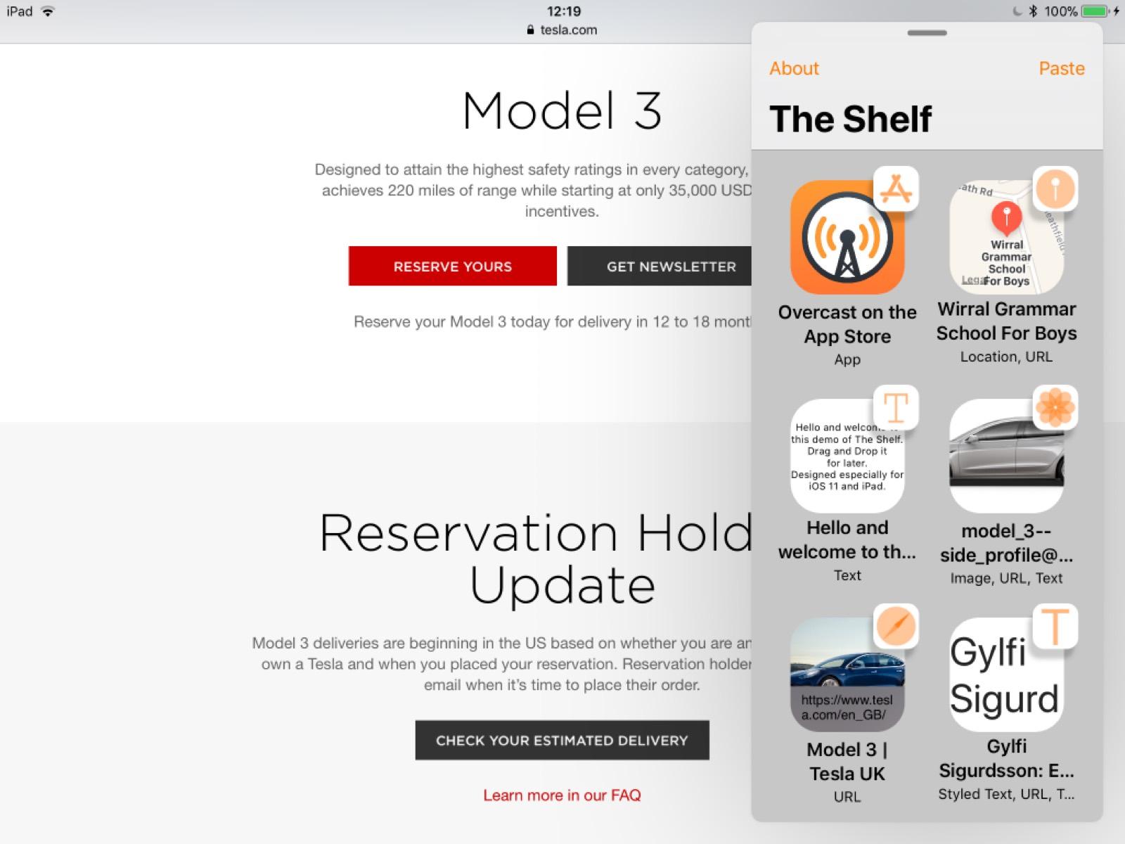Image of the Shelf app on the iPad.