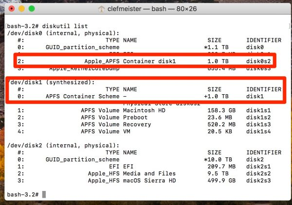 Locate, then resize your APFS container