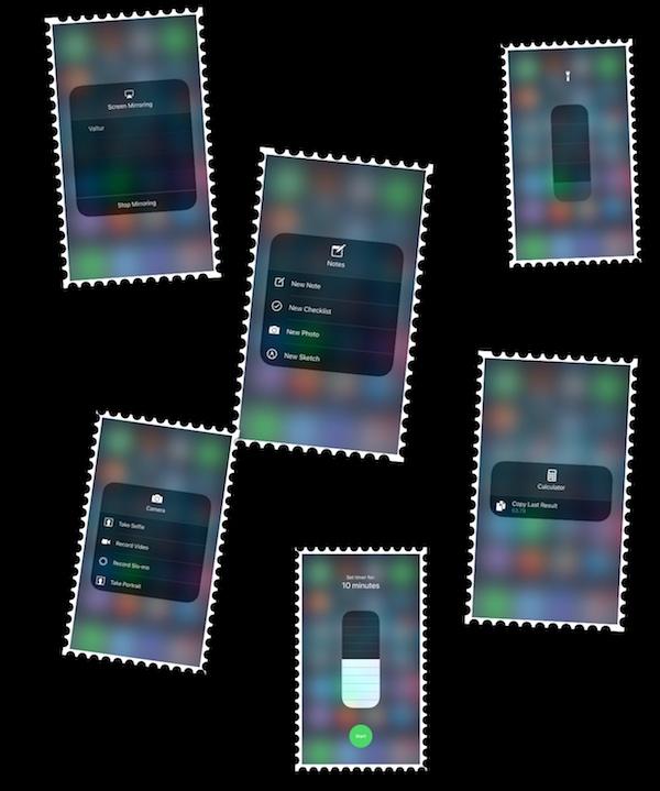 iOS 11 Control Center Long Press Icons