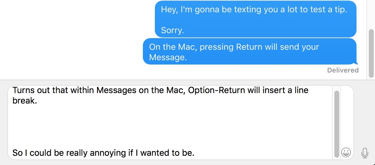 Messages on the Mac using Option-Return to make Line Breaks