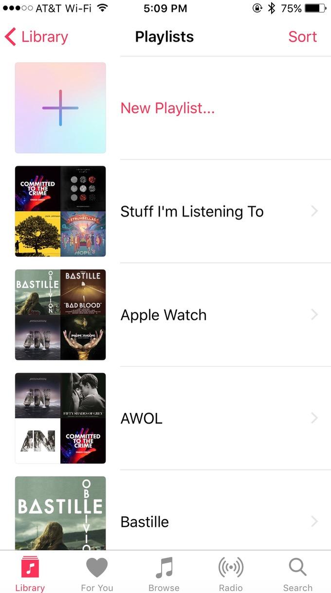 iPhone Music app Playlists Screen