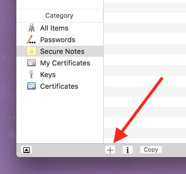 Keychain Access Plus Button lets you add new entries including Secure Notes