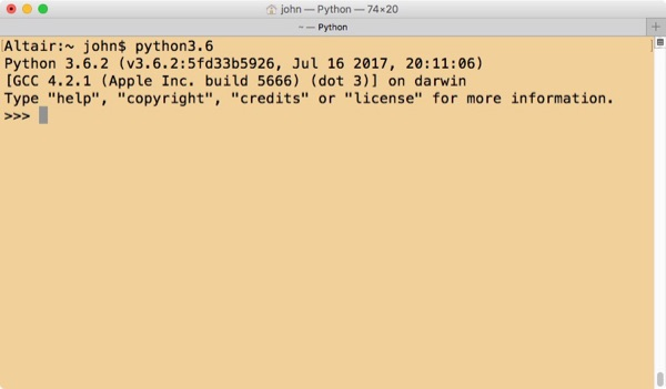 Python 3.6 in shell