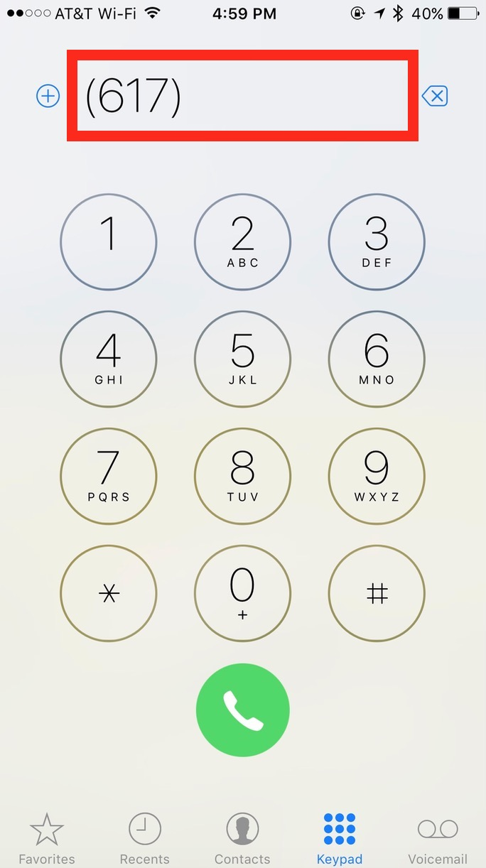 The iPhone keypad showing the Last Number Dialed after tapping the green button