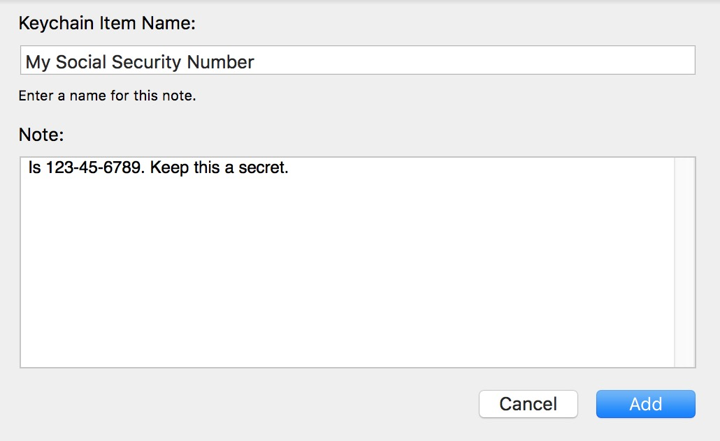 Entering a Secure Note in Keychain Access