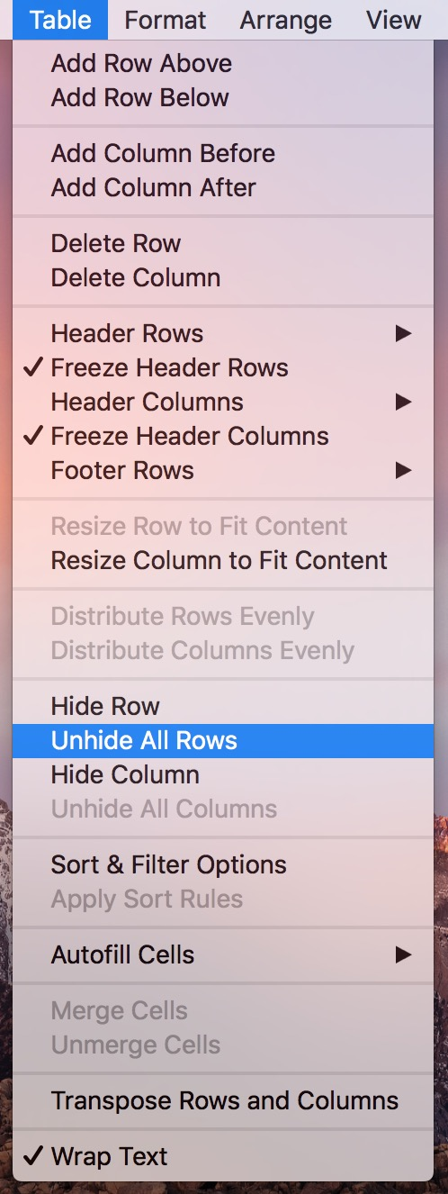 Use the Numbers Table Menu to unhide all rows