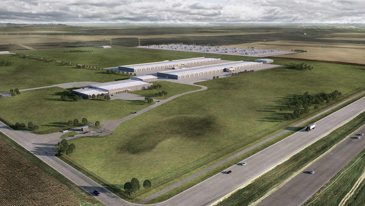 Apple rendering of the planned data center in Waukee, Iowa