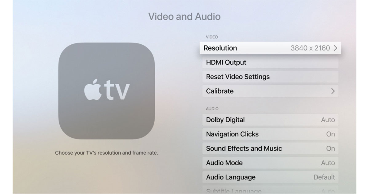 tvOS for Apple TV supports 4K resolution