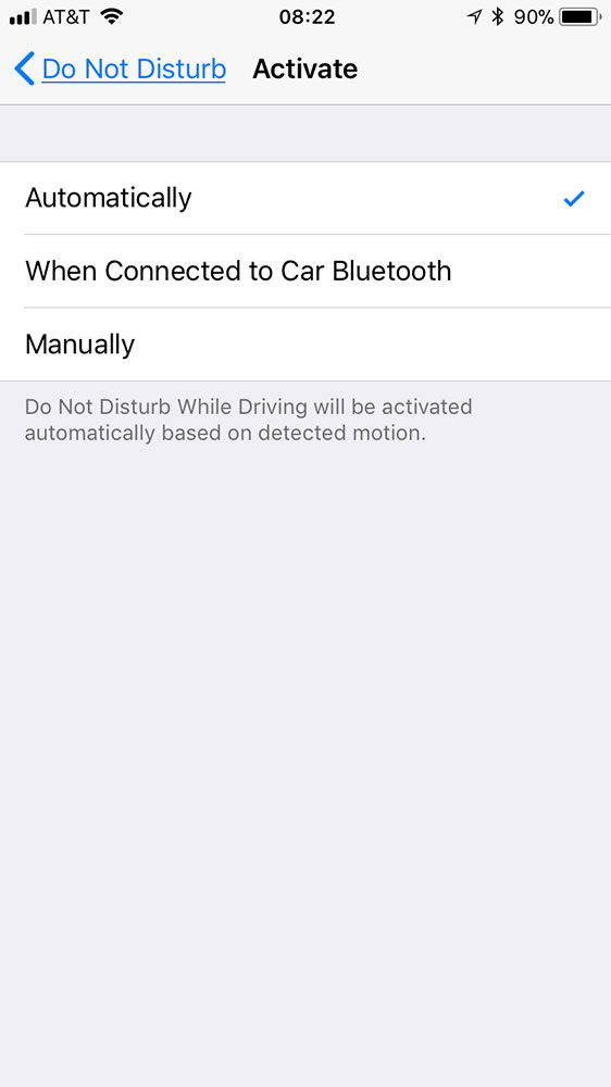 iOS 11 Do Not Disturb While Driving activation settings