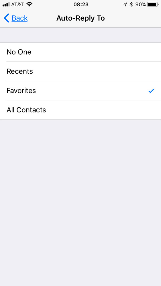 iOS 11 Do Not Disturb While Driving automated text reply settings