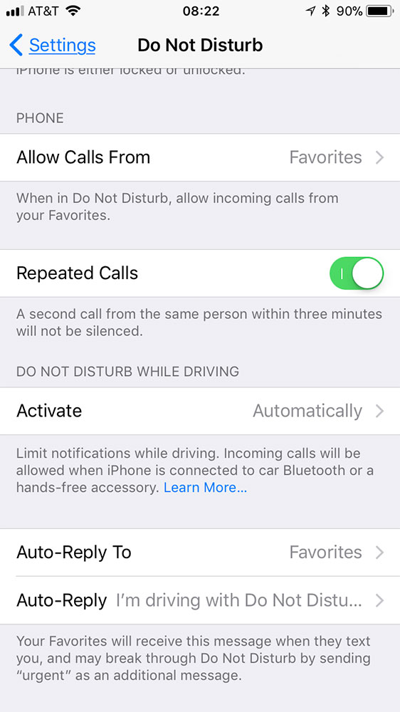 iOS 11 Do Not Disturb While Driving settings