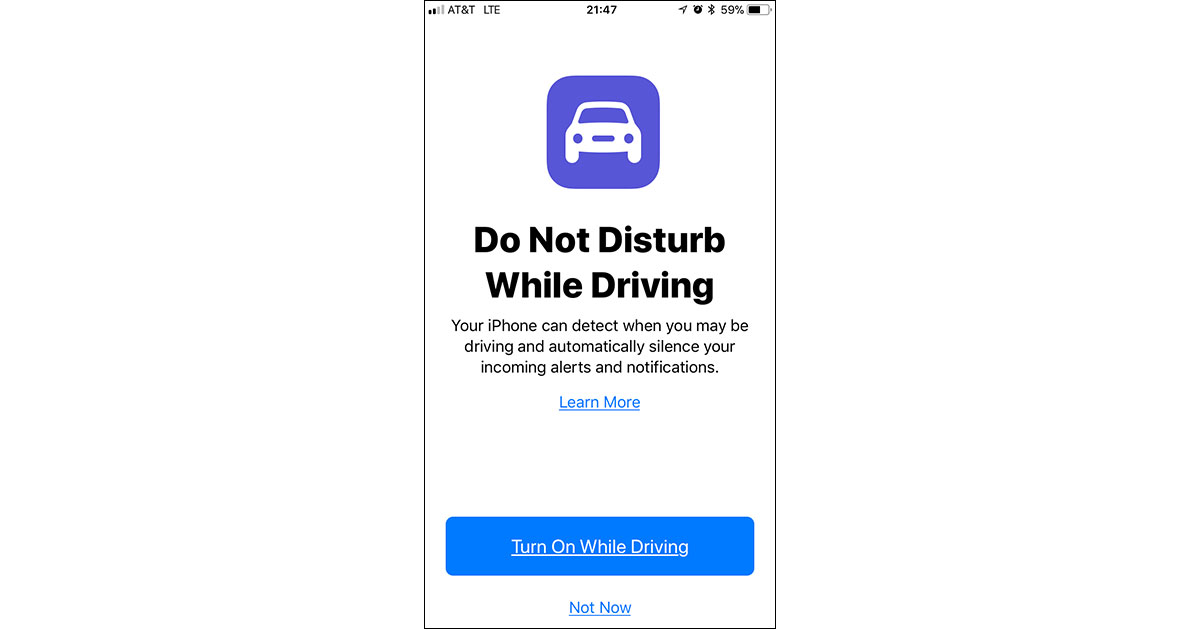 iOS 11 Do Not Disturb While Driving iPhone screen