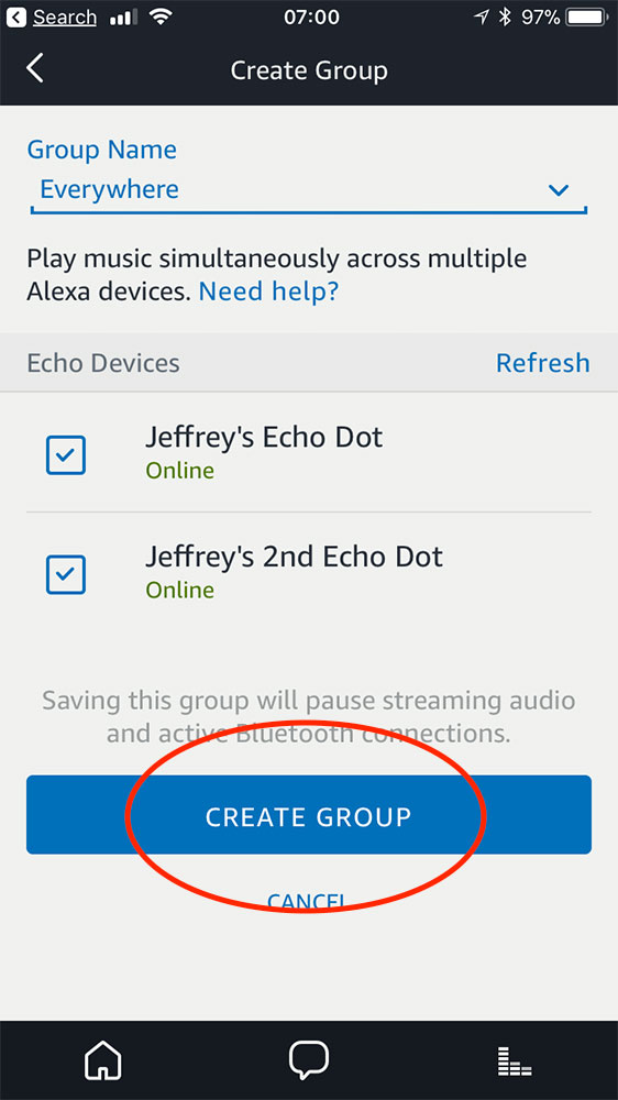Finishing the Alexa app multi-room music setup for Echo devices