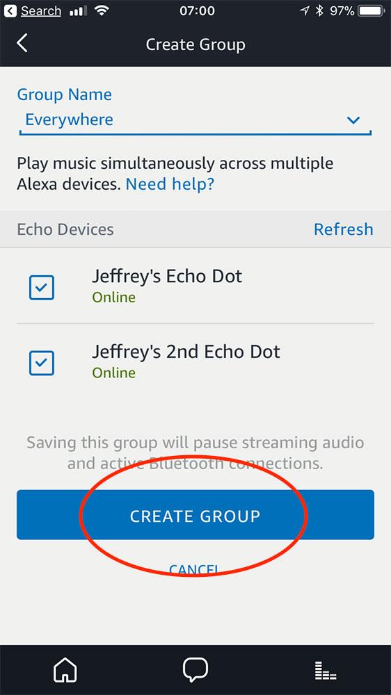 Finishing the Alexa app multi-room music setup for Echo devices