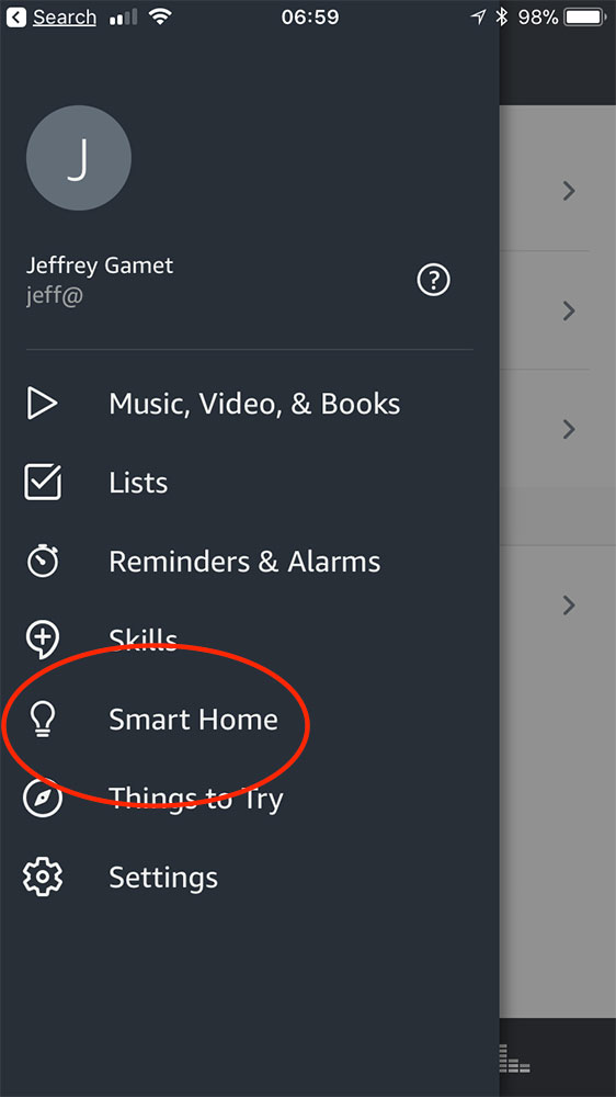 Smart Home option in Alexa app for setting up multi-room streaming music