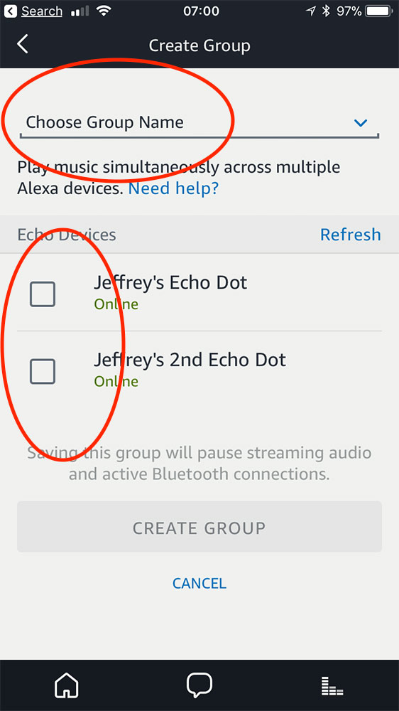 Alexa app setting up an Echo device group for streaming music
