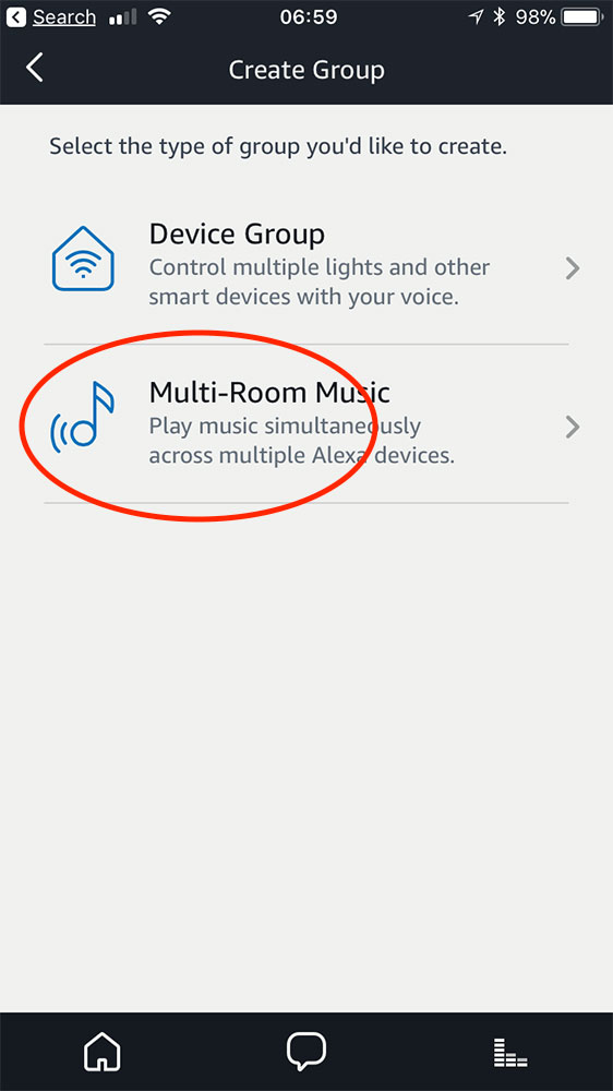 Alexa app Multi-Room Music option for setting up multiple Echo devices to stream music together