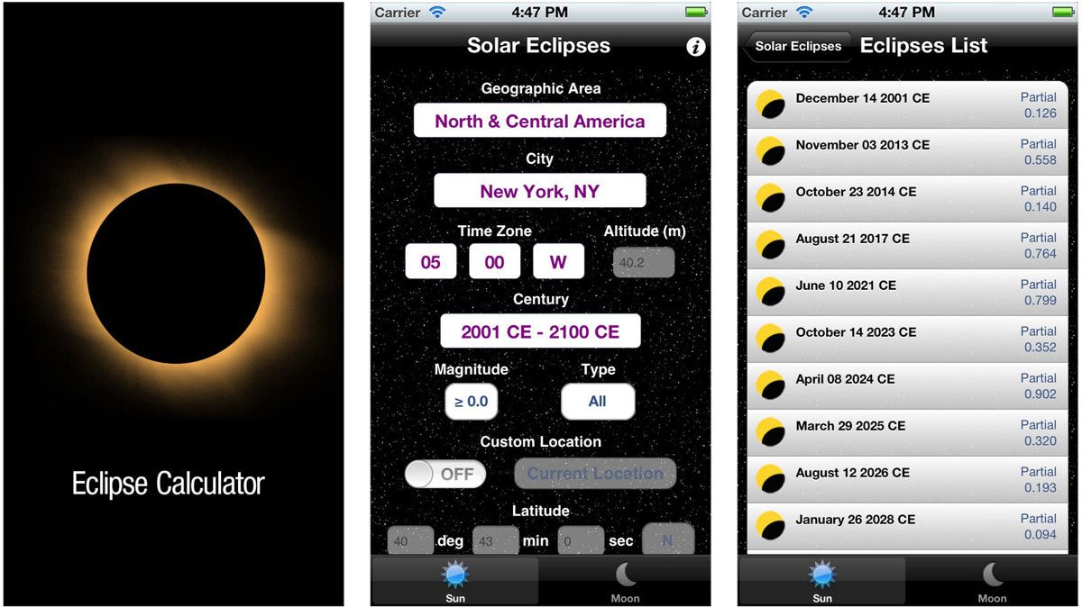 Eclipse Calculator Screenshots