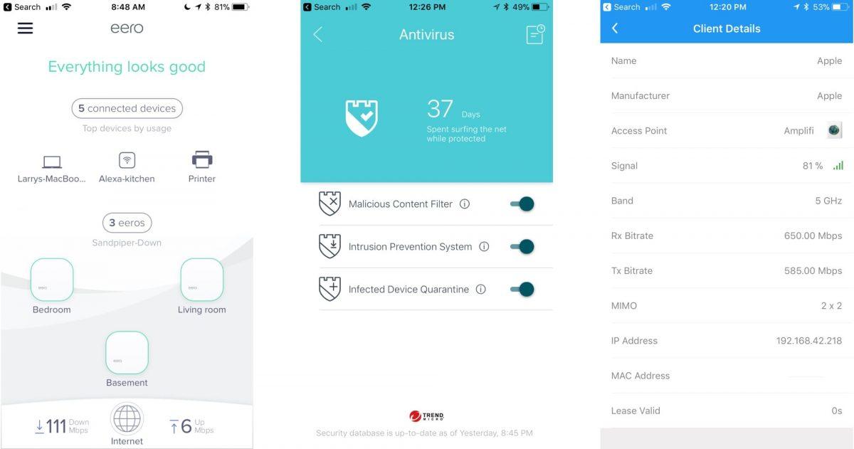 Screenshots of eero, Deco, and AmpliFi iOS Apps