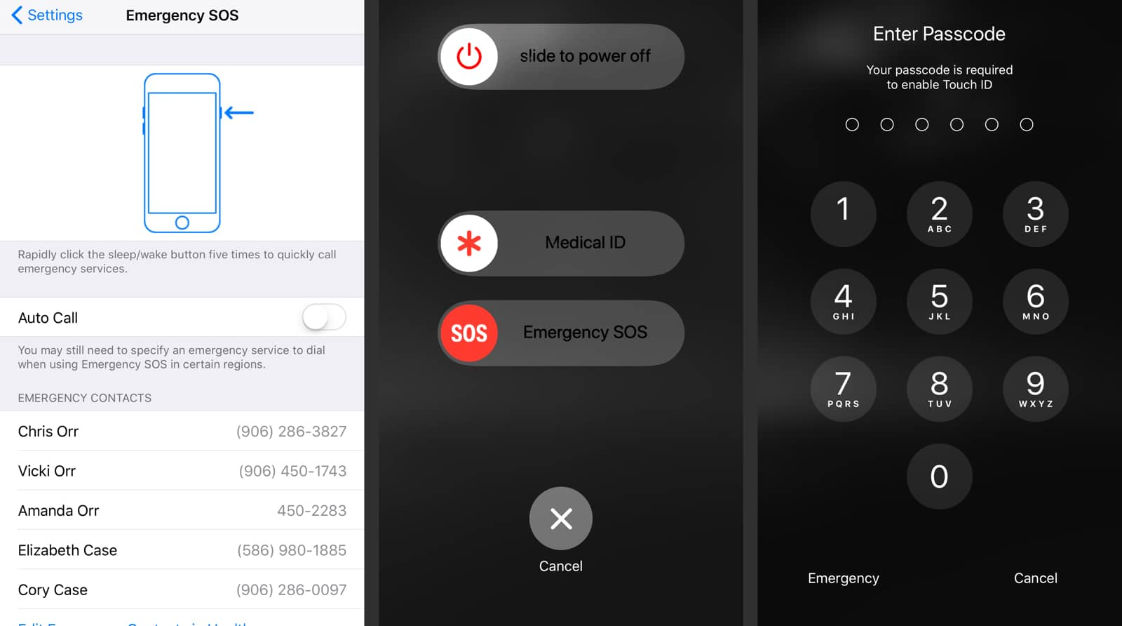 Screenshots of activating SOS that can also disable TouchID.