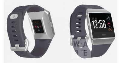Rendering showing Fitbit smartwatch with pulse oximeter sensor