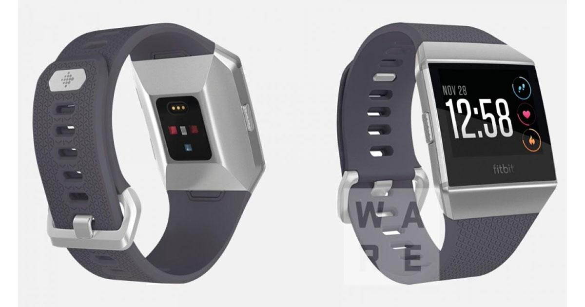 Rendering showing Fitbit smartwatch with pulse oximeter sensor