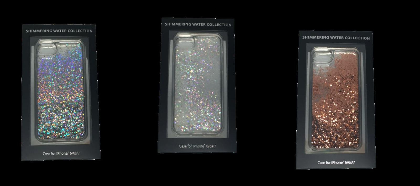 Examples of the glitter iPhone cases.
