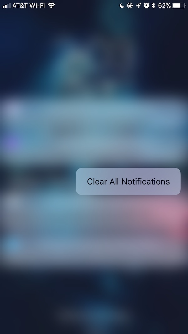 iOS 11 Notification Center - Clear All