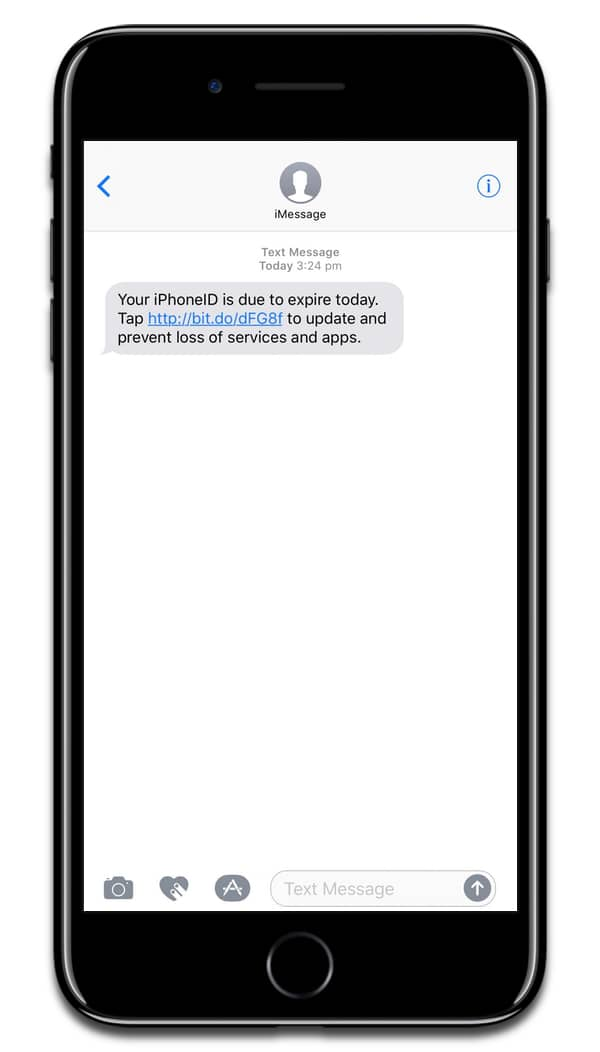 Screenshot of the iMessage scam.