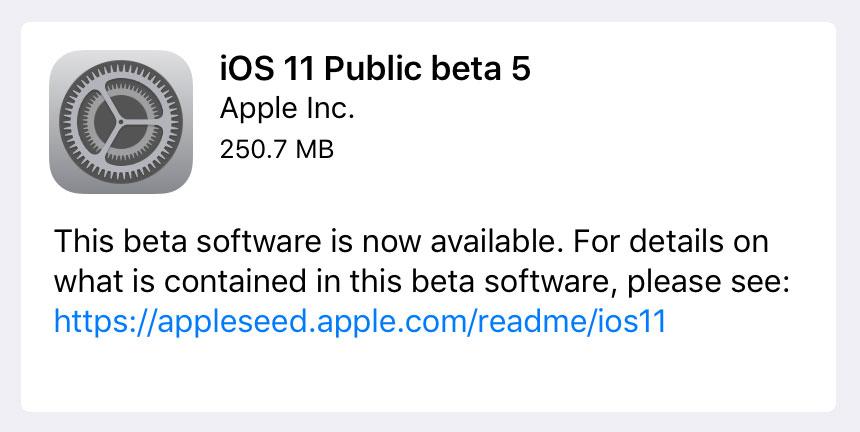 iOS 11 Public Beta 5 Screenshot