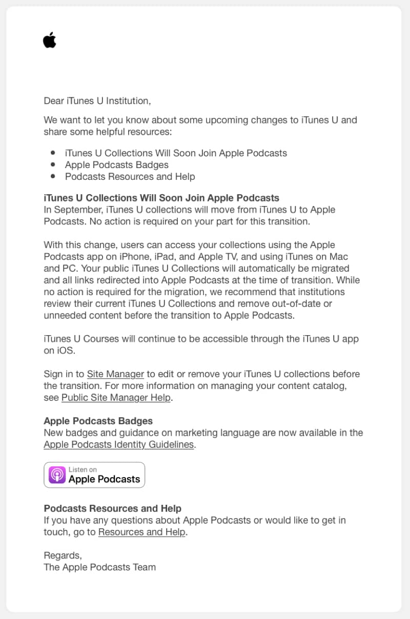 iTunes U collections letter to institutions.