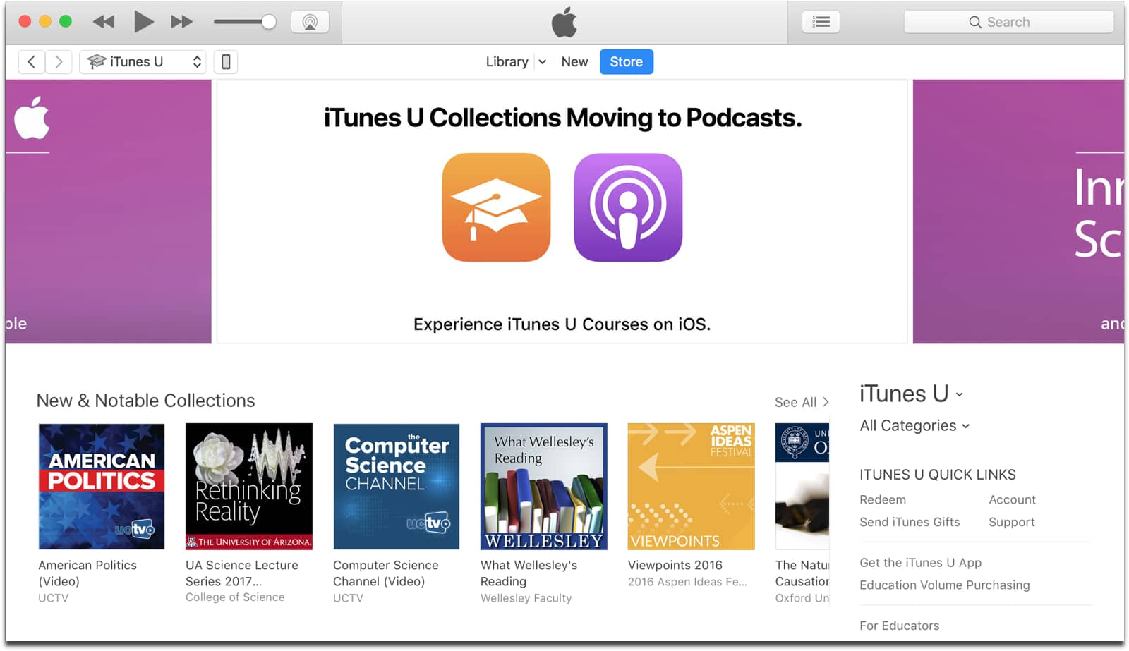 iTunes U collections page in iTunes
