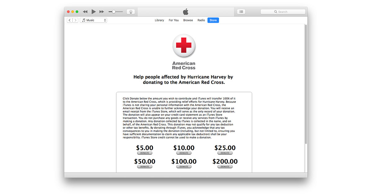 iTunes Store Hurricane Harvey Red Cross donations page