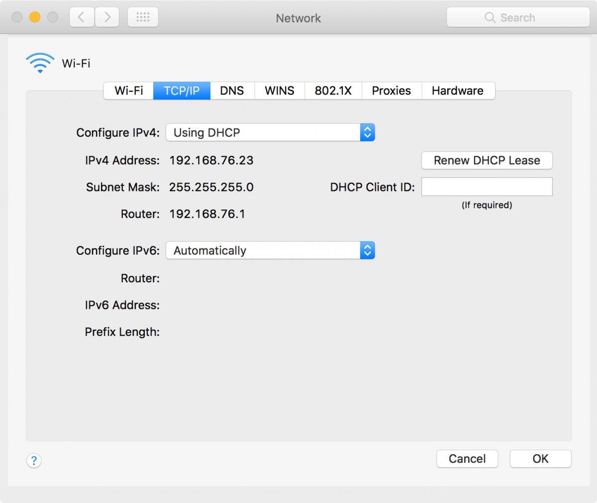 macOS Network System Preferences TCP/IP Window
