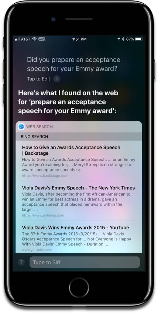 Screenshot of asking Siri if she has an acceptance speech for Siri on Apple TV.