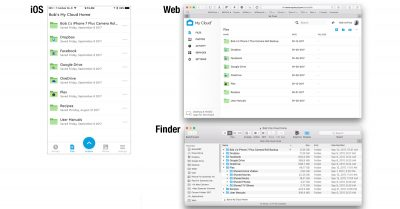 My files stored on the My Cloud Home as seen on my iPhone (left), web browser (top right), and the Finder (bottom right).
