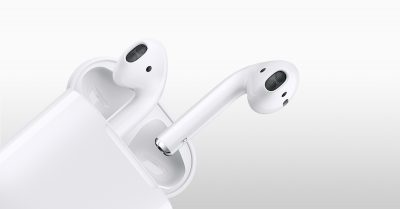 Apple AirPods coming out of case