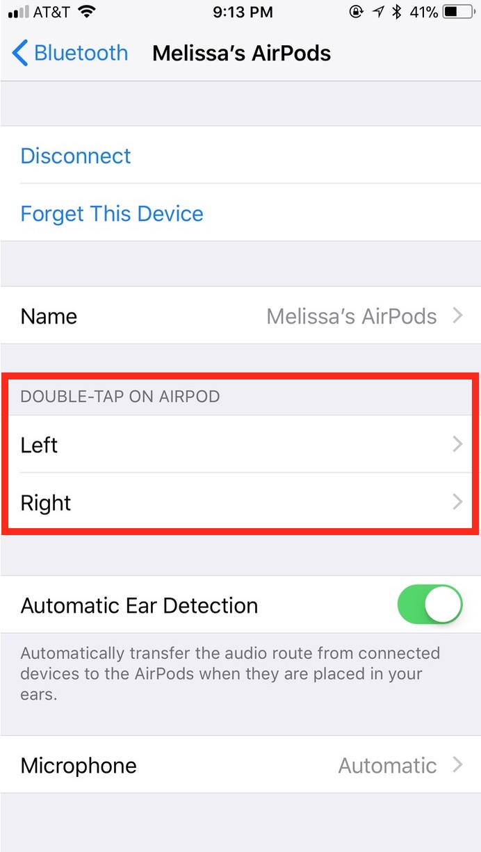 The Double-Tap on AirPod option in Bluetooth AirPods settings lets you customize taps for each AirPod