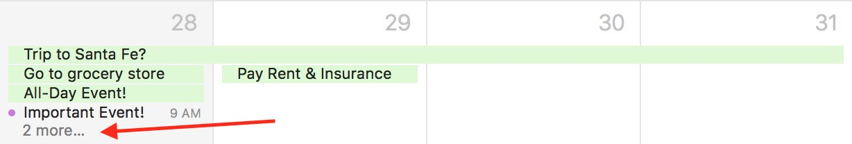 macOS Calendar Hidden Events in Month View thanks to all day events taking up space